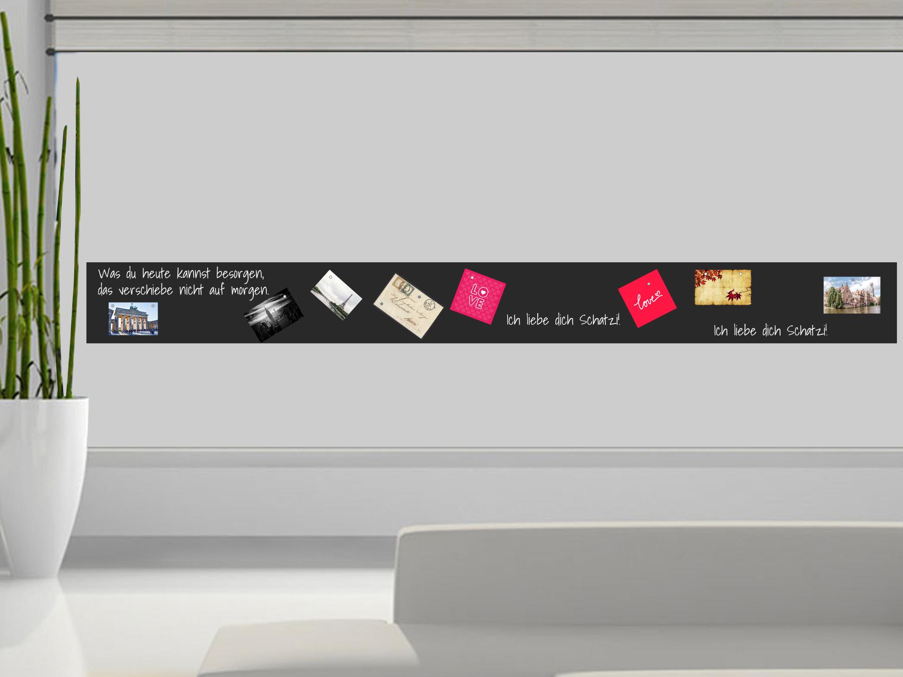 300x30cm | Selbstklebende magnetische Tafelfolie | Kreide & Kreidestift | schwarz