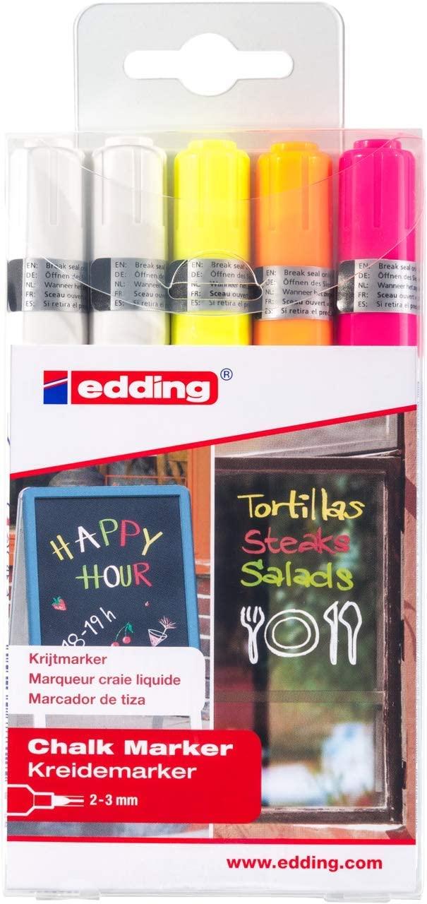 Kreidestift EDDING® 4095 - 5ER Set -  Weiß, Gelb, Orange, Pink (neon)