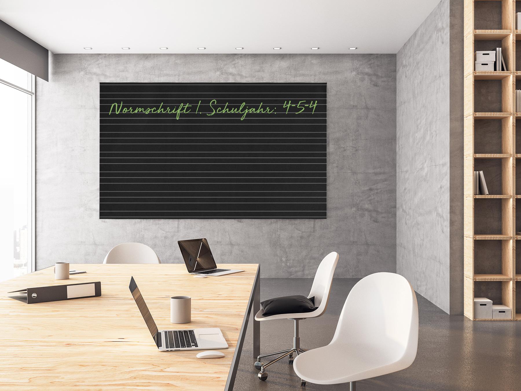 100x100cm   Schultafelfolie   Liniert    Normschrift 1. Schuljahr   selbstklebend    Kreide & Kreidestift   schwarz