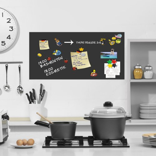 Selbstklebende und magnetische Tafelfolie für Kreide_400x120 schwarz